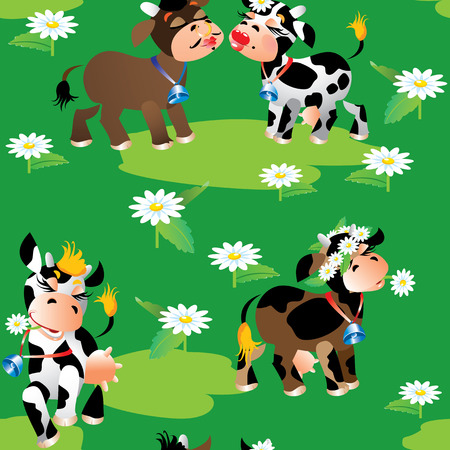 Seamless pattern with cute cartoon cows on green background. Ready to use as swatch. Vector