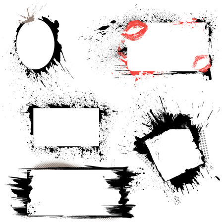Set of frames - black blots and ink splashes. Abstract elements for design in grunge style.  Vector