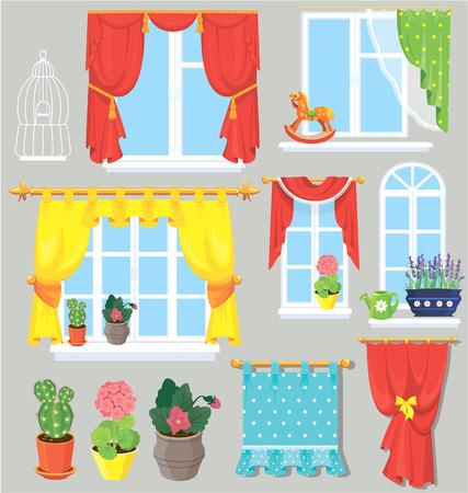 cortinas: Conjunto de ventanas, cortinas y flores en macetas. Elementos para el diseño de interiores.