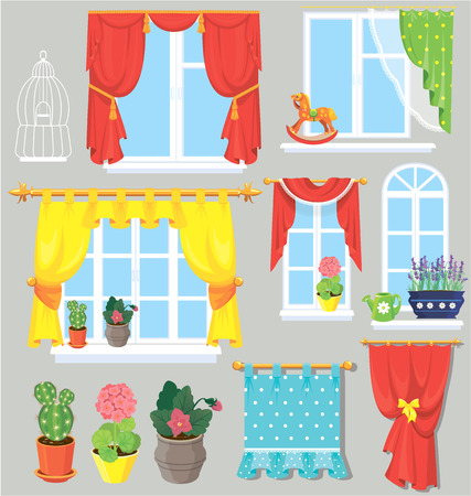 window curtains: Set of windows, curtains and flowers in pots. Elements for interior design.