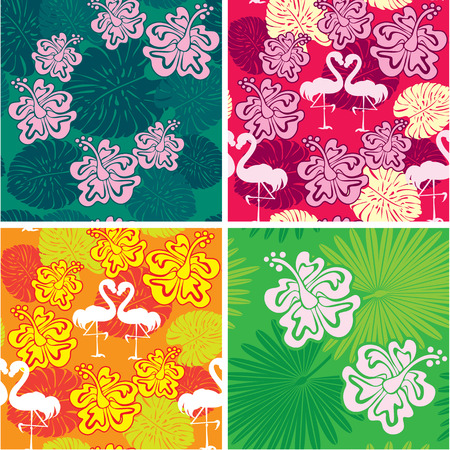 Set of seamless patterns with palm trees leaves, Frangipani flowers and flamingos. Ready to use as swatch. Vector