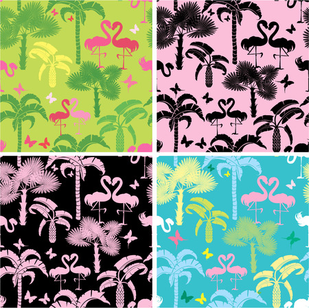 Set of seamless patterns with palm trees, butterflies and flamingos. Ready to use as swatch. Vector