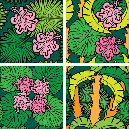 Set of seamless patterns with palm trees leaves and Frangipani flowers. Color version. Ready to use as swatch. Vector