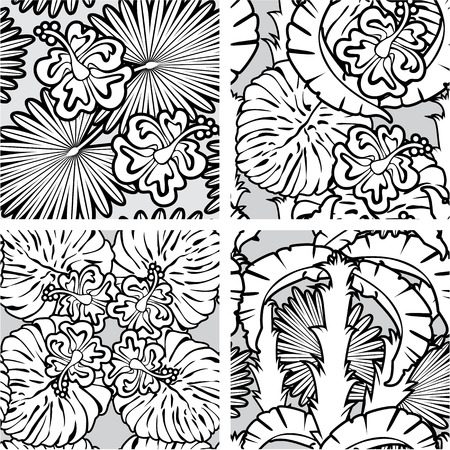 Set of seamless patterns with palm trees leaves and Frangipani flowers. Black and white version. Ready to use as swatch. Vector
