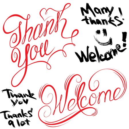 many thanks: Set of handwritten text Thank You and Welcome in calligraphic  and grunge styles isolated on white background Illustration
