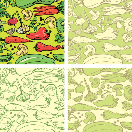 agriculture wallpaper: Set of seamless patterns with delicious vegetables. Ready to use as swatch.