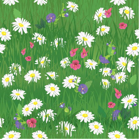 springing: Seamless pattern - texture of grass and wild flowers