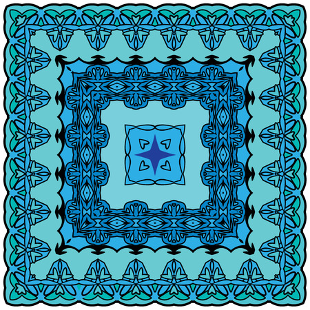 Squared - ornamental floral pattern. Design for bandanna, carpet, shawl, pillow or cushion Vector
