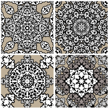 Set of squared - ornamental seamless pattern. Design for bandanna, carpet, shawl, pillow or cushion Vector