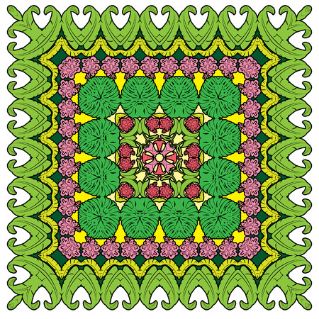 Squared - ornamental floral pattern  with palm leaves and Frangipani flowers. Design for bandanna, carpet, shawl, pillow or cushion Vector