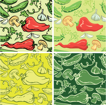 Set of seamless patterns with delicious vegetables. Ready to use as swatch. Vector