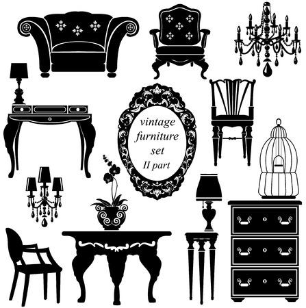 分離の黒いシルエットのアンティーク家具のセット  イラスト・ベクター素材