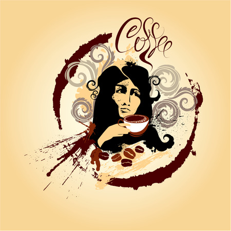 Girl with cup of coffee - Vintage Coffee and chocolate illustration in grunge style Vector