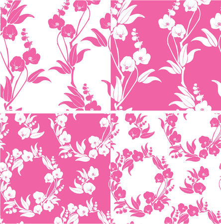 Set of Seamless pattern with orchids silhouette Vector