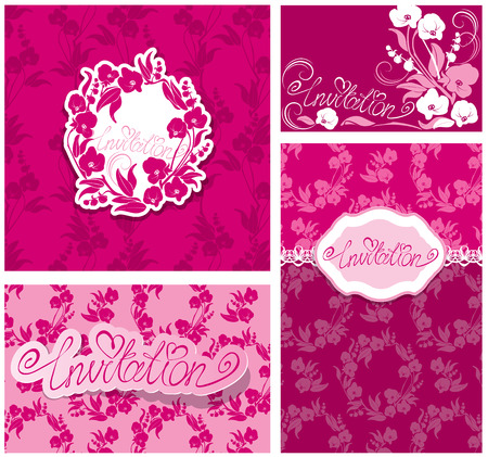 Set of Greeting Cards with Orchid Flowers and handwritten word Invitation. Design for Wedding, Birthday, etc. Vector
