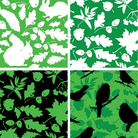 Set of Seamless patterns with birds, leaves and squirrel silhouettes. Ready to use as swatch. Vector