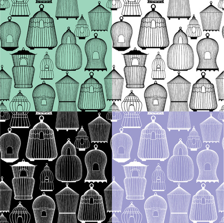 caged: Set of seamless patterns with decorative bird cage Silhouettes. Ready to use as swatch