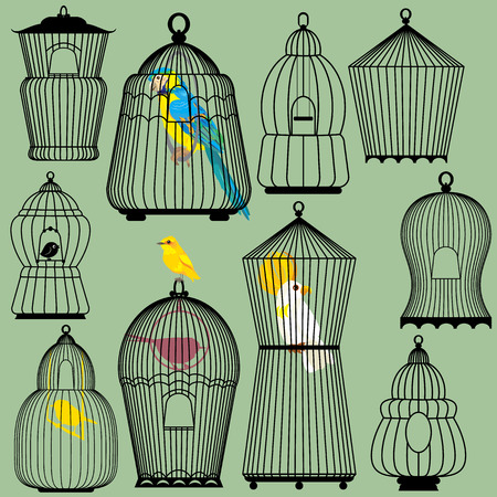Set of decorative bird cage Silhouettes and birds - parrots and canary Vector