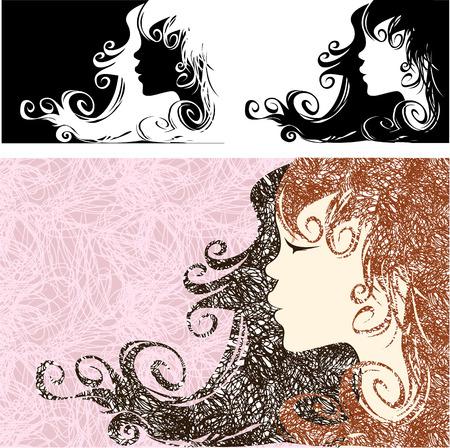 cabello largo y hermoso: Perfil de la muchacha con el pelo largo hermoso