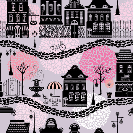 Seamless pattern with fairy tale houses, lanterns silhouettes, trees. City endless background. Ready to use as swatch. Vector