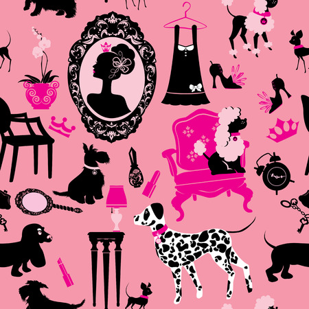 Seamless pattern with glamour accessories, furniture, girl portrait and dogs (Dalmatian, dachshund, terrier, poodle, chihuahua)  - black silhouettes on pink background. Ready to use as swatch. Vector