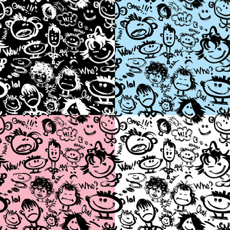 Set of seamless patterns. Cartoon faces with different emotions. Handdrawn images and handwritten text. Ready to use as swatch. Vector