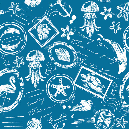 Seamless pattern with Sea and tropical elements - rubber stamps collection - white silhouette on blue background Vector