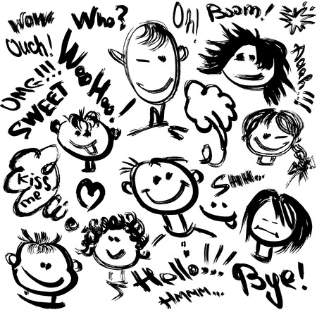 Set of Cartoon faces with different emotions. Handdrawn images and handwritten text  Vector