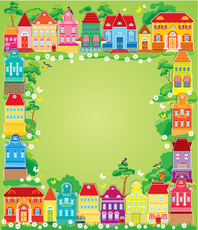 balcony view: Frame with decorative colorful houses. Christmas and New Year holidays card with small fairy town.  Illustration