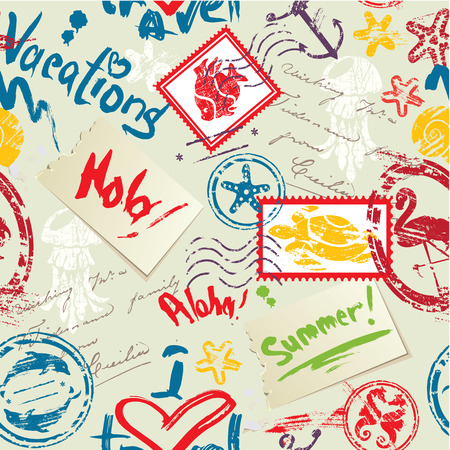 water anchor: Seamless pattern with Sea and tropical elements - rubber stamps collection. Ready to use as swatch