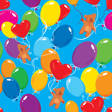 Seamless pattern with colorful balloons and teddy bears on sky blue background  Ready to use as swatch Vector