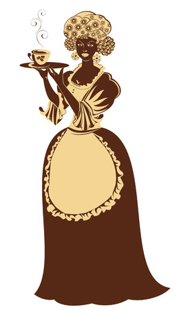 coffeepot: Beautiful mulatto girl with coffee cup and pot dressing vintage clothes. Illustration in brown and beige colors