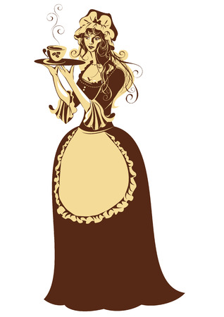 coffeepot: Beautiful girl with coffee cup and pot dressing vintage clothes. Illustration in brown and beige colors