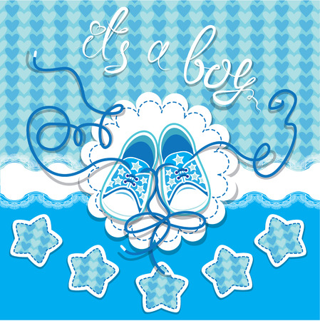 baby shoes: Holiday Dard children gumshoes on blue background - design for boys. Invitation with handwritten text It`s a boy. Illustration