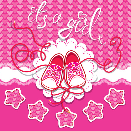 Holiday Dard children gumshoes on pink background - design for girls. Invitation with handwritten text It`s a girl. Vector
