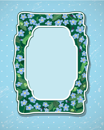 forget: Invitation Card with pattern of beautiful flowers - forget me not - floral nature frame.