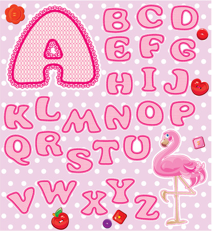 ABC - Childish alphabet - letters are made of pink lace and ribbons  - version for baby girl. Vector