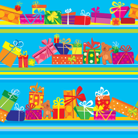 Seamless pattern with colorful gift boxes, presents and teddy bears on blue background. Ready to use as swatch Vector