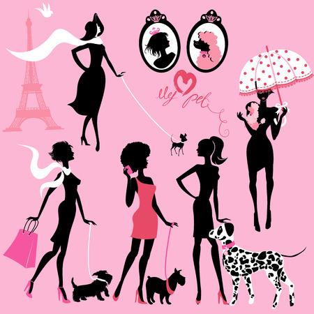 Conjunto de siluetas negras de las chicas de moda con sus mascotas - perros (Dálmata, terrier, caniche, chihuahua) sobre un fondo de color rosa