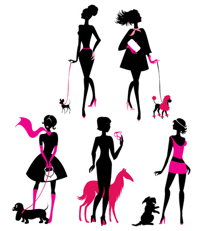 Set of black silhouettes of fashionable girls with their pets - dogs (dachshund, terrier, poodle, chihuahua) on a white background  Ilustração