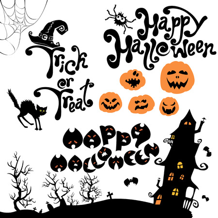 terrifying: Set of Halloween elements - pumpkin, cat, mystery house and other terrifying things. Handwritten calligraphic text - Happy Halloween, Trick or Treat.