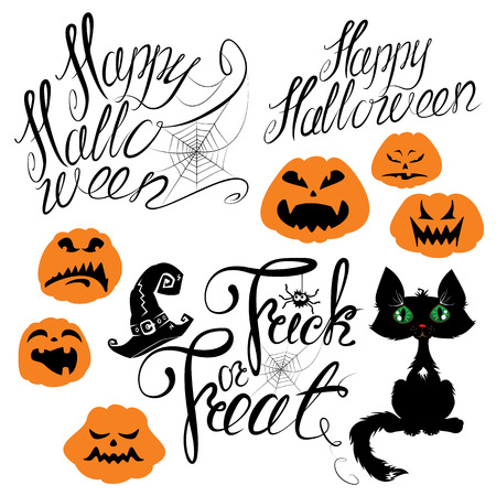 terrifying: Set of Halloween elements - pumpkin, cat, spider and other terrifying things. Handwritten calligraphic text - Happy Halloween, Trick or Treat. Illustration