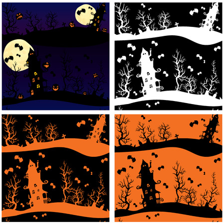 Set of seamless patterns - Halloween night: mystery house on sky background with moon. Vector