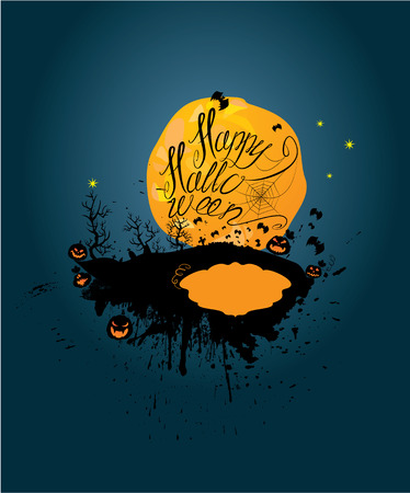 date night: Halloween night: pumpkins silhouette on moon and sky background. Card with calligraphic text Happy Halloween and empty frame to write place and date of  party.