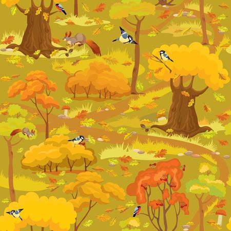 aves caricatura: Modelo inconsútil - Paisaje del bosque del otoño con los árboles, setas, aves y ardillas. Listo para usar como muestra.