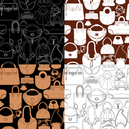 Set of seamless patterns with woman bags and handbags. Ready to use as swatch Vector