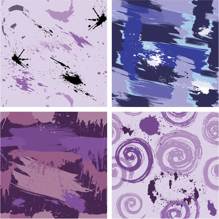 wet paint: Set of seamless pattern with blots and ink splashes. Abstract background for design in grunge style. Ready to use as swatch.