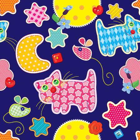 dulces sue�os: Modelo incons�til - dulces sue�os - gato, rat�n, las estrellas y la luna est�n hechas de tela - fondo infantil Vectores