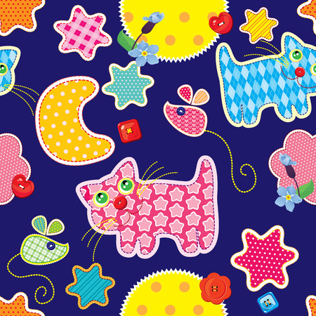 girafe: Seamless pattern - sweet dreams - cat, mouse, stars and moon are made of fabric  - childish background