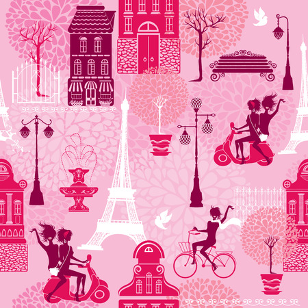 Seamless pattern with girls riding on scooter and bicycle, houses silhouettes and town landscape with Effel Tower on a pink floral background.  Ready to use as swatch Vector
